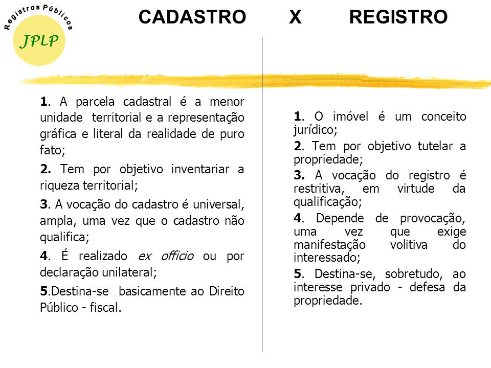 CADASTRO X REGISTRO JPLP