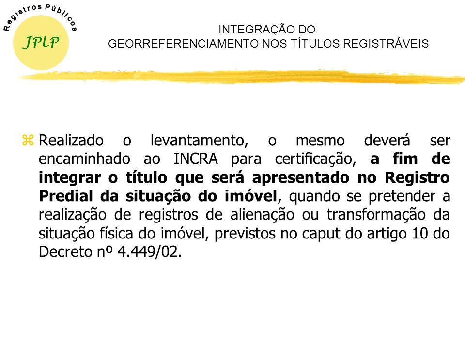 INTEGRAÇÃO DO GEORREFERENCIAMENTO NOS TÍTULOS REGISTRÁVEIS