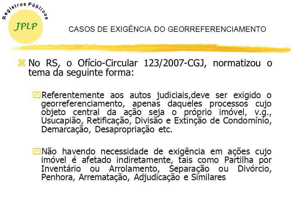 CASOS DE EXIGÊNCIA DO GEORREFERENCIAMENTO