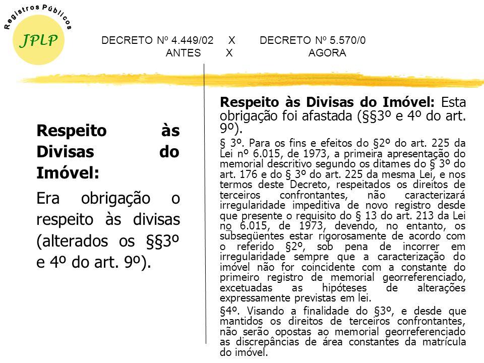 DECRETO Nº 4.449/02 X DECRETO Nº 5.570/0 ANTES X AGORA