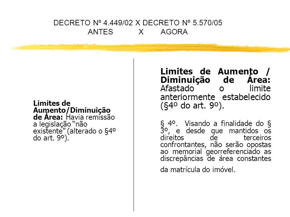 DECRETO Nº 4.449/02 X DECRETO Nº 5.570/05 ANTES X AGORA