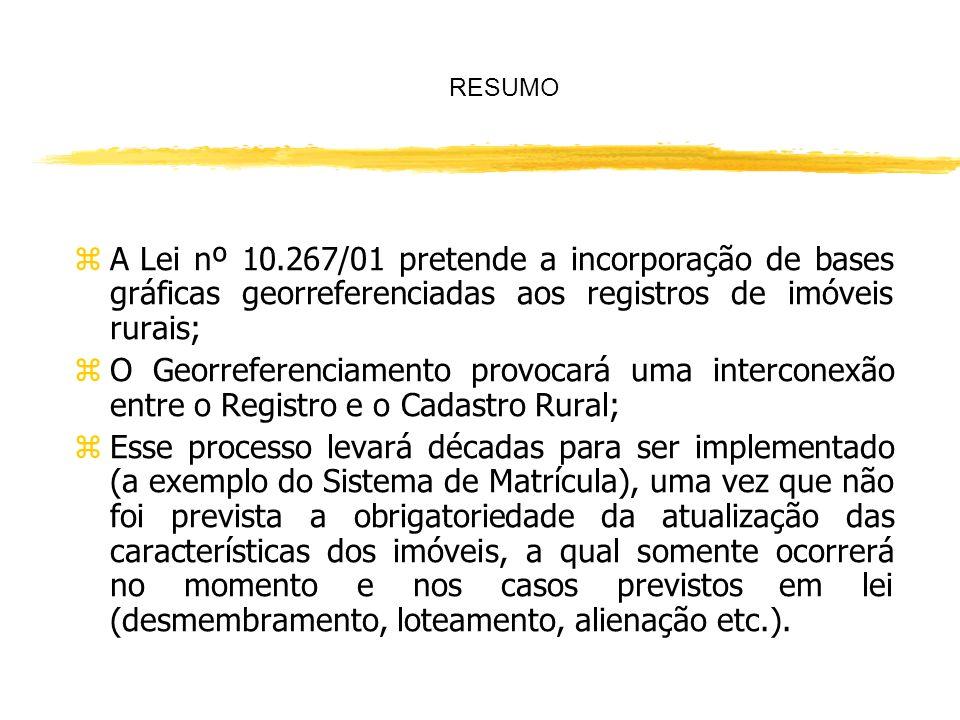 RESUMO A Lei nº 10.267/01 pretende a incorporação de bases gráficas georreferenciadas aos registros de imóveis rurais;
