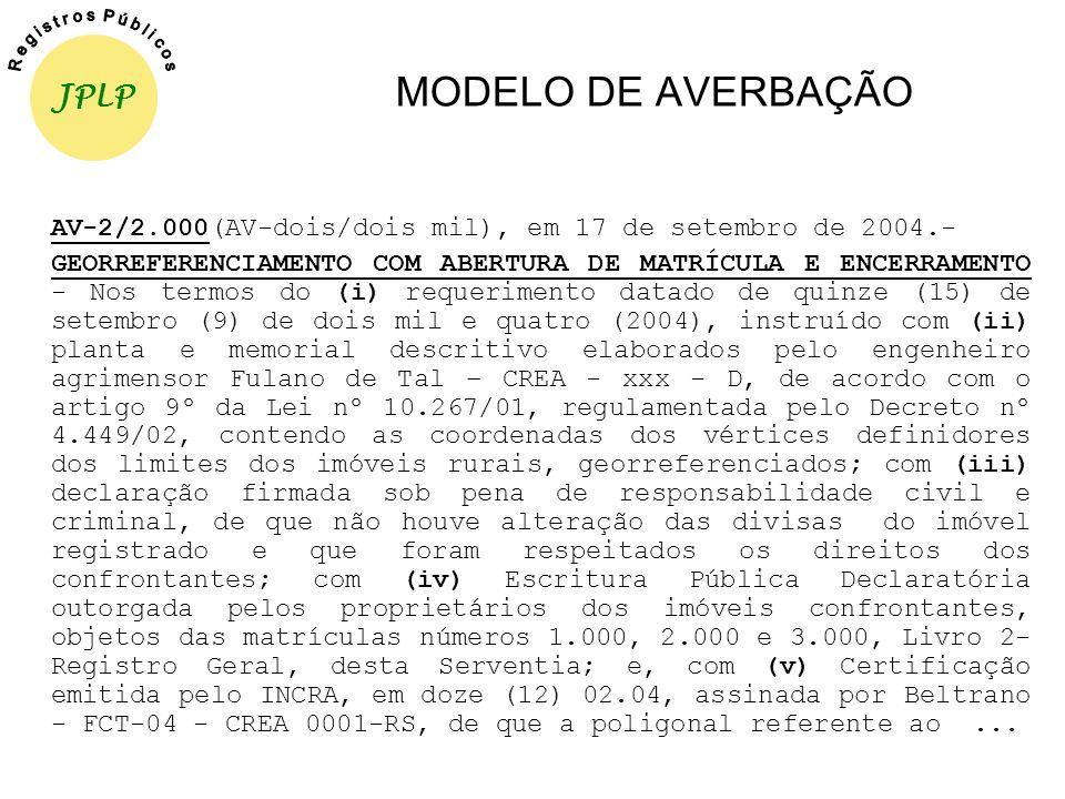 MODELO DE AVERBAÇÃO JPLP