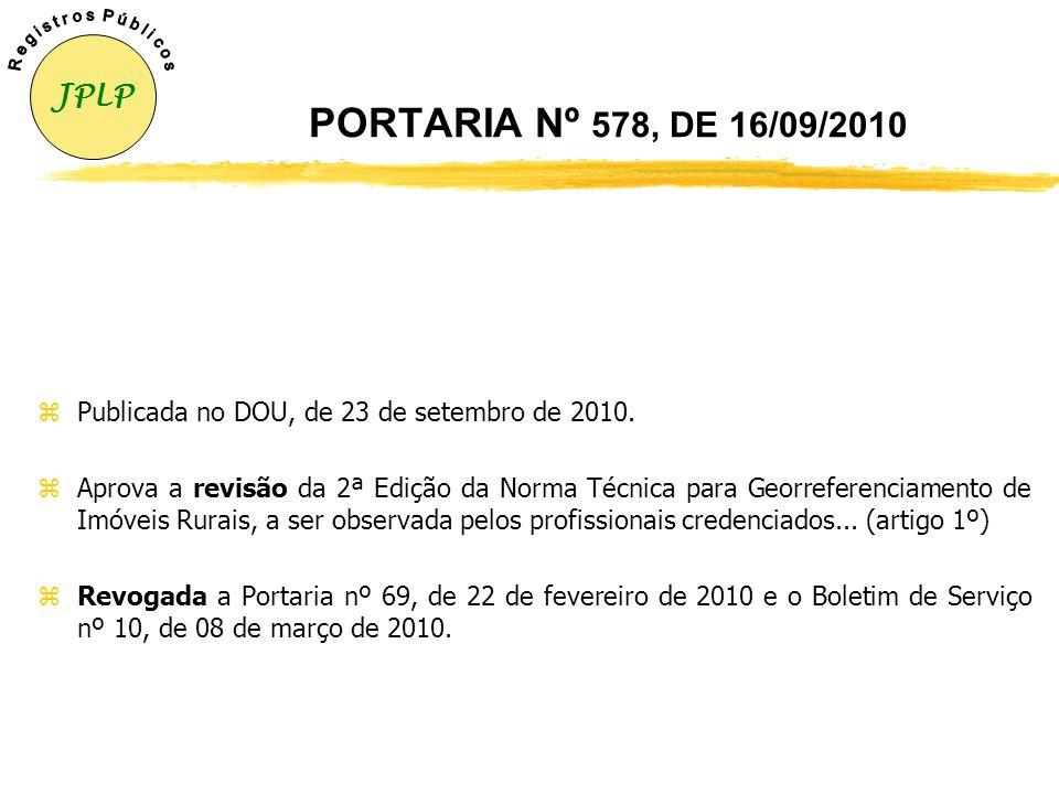 JPLP R e g i s t r o s P ú b l i c o s. PORTARIA Nº 578, DE 16/09/2010. Publicada no DOU, de 23 de setembro de 2010.