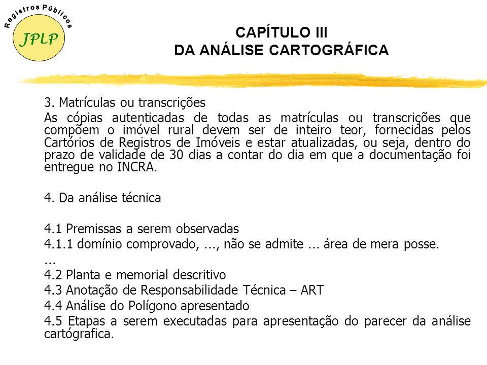CAPÍTULO III DA ANÁLISE CARTOGRÁFICA