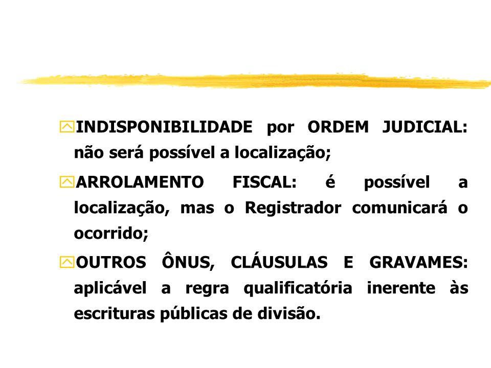 INDISPONIBILIDADE por ORDEM JUDICIAL: não será possível a localização;