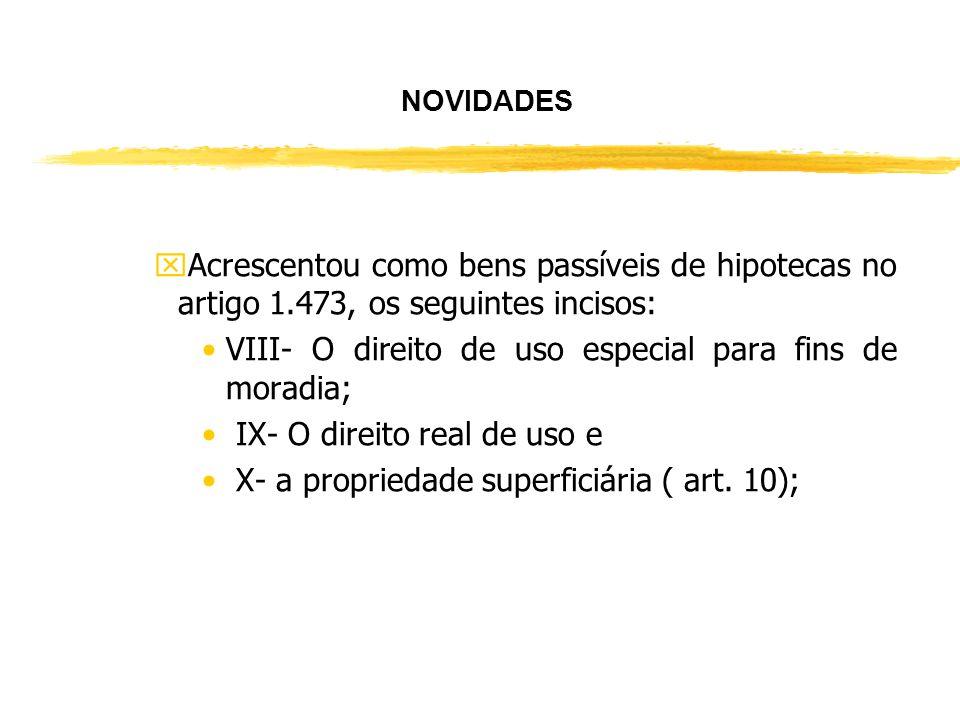 VIII- O direito de uso especial para fins de moradia;