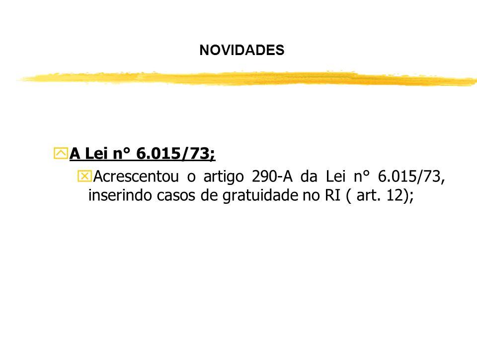NOVIDADES A Lei n° 6.015/73; Acrescentou o artigo 290-A da Lei n° 6.015/73, inserindo casos de gratuidade no RI ( art.