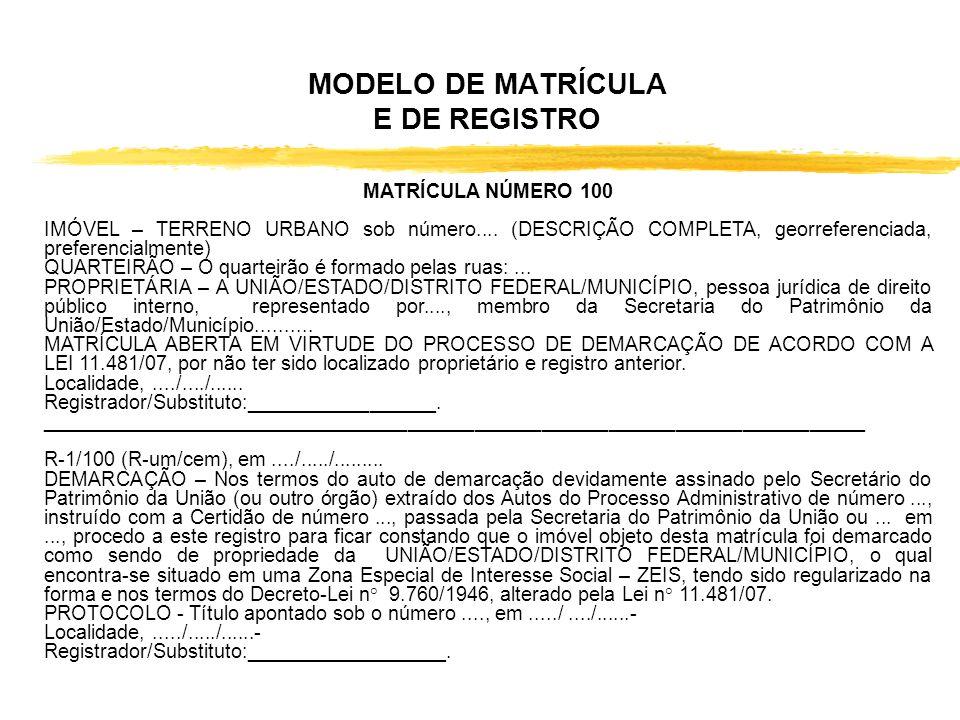 MODELO DE MATRÍCULA E DE REGISTRO