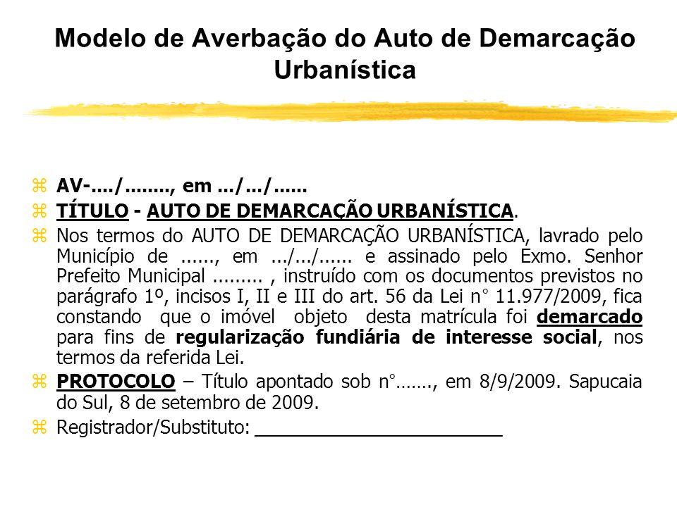 Modelo de Averbação do Auto de Demarcação Urbanística