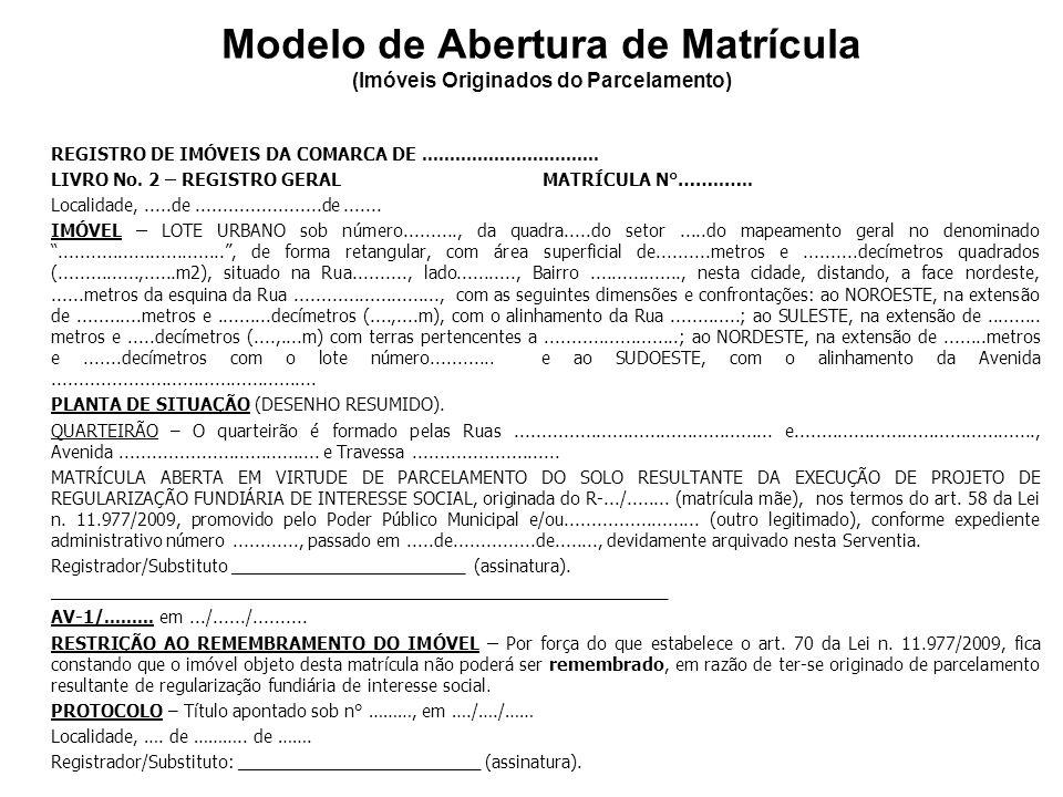 Modelo de Abertura de Matrícula (Imóveis Originados do Parcelamento)