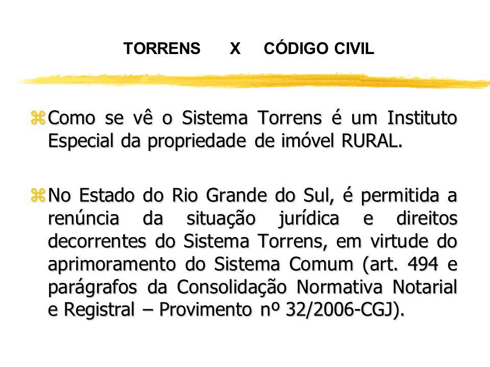 TORRENS X CÓDIGO CIVIL Como se vê o Sistema Torrens é um Instituto Especial da propriedade de imóvel RURAL.