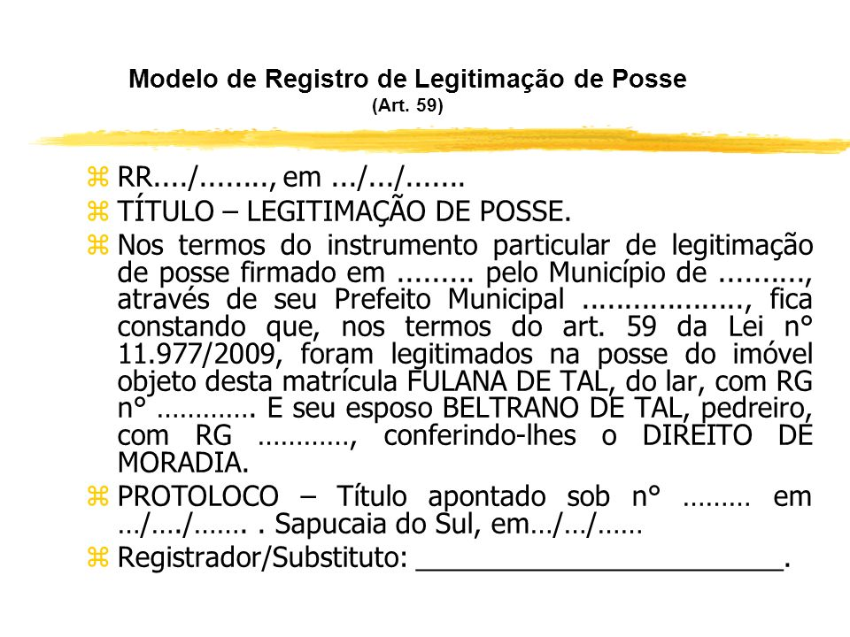 Modelo de Registro de Legitimação de Posse (Art. 59)
