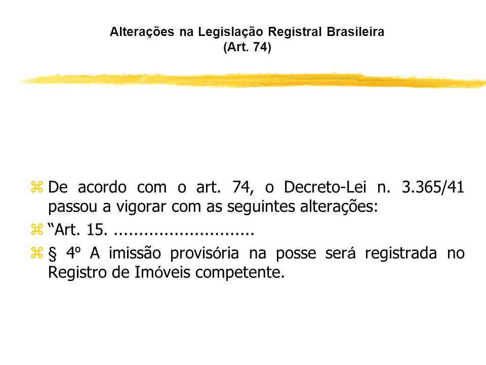 Alterações na Legislação Registral Brasileira (Art. 74)