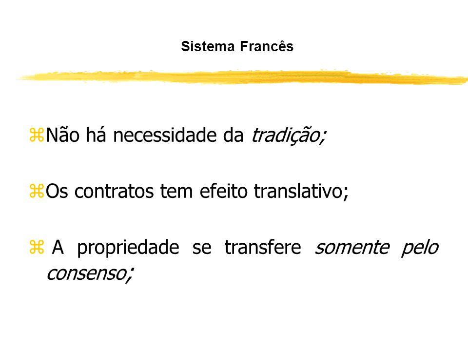 Não há necessidade da tradição; Os contratos tem efeito translativo;