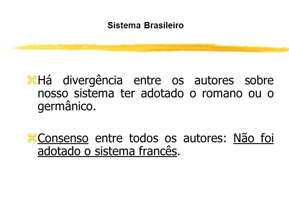 Consenso entre todos os autores: Não foi adotado o sistema francês.