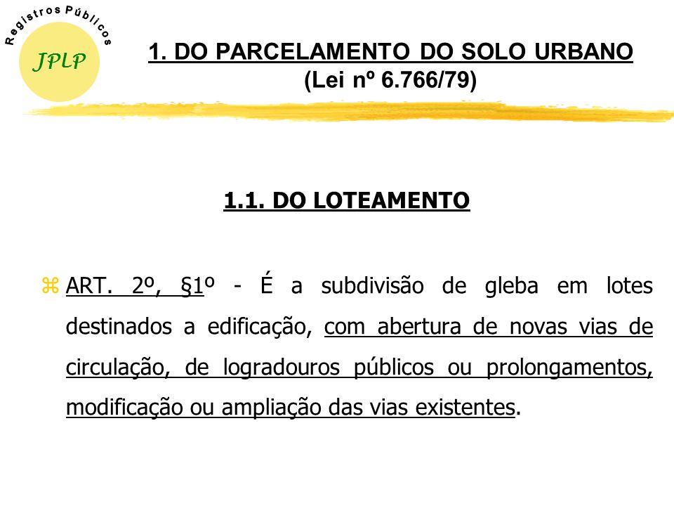 1. DO PARCELAMENTO DO SOLO URBANO (Lei nº 6.766/79)