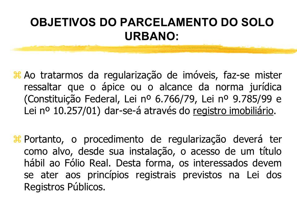 OBJETIVOS DO PARCELAMENTO DO SOLO URBANO: