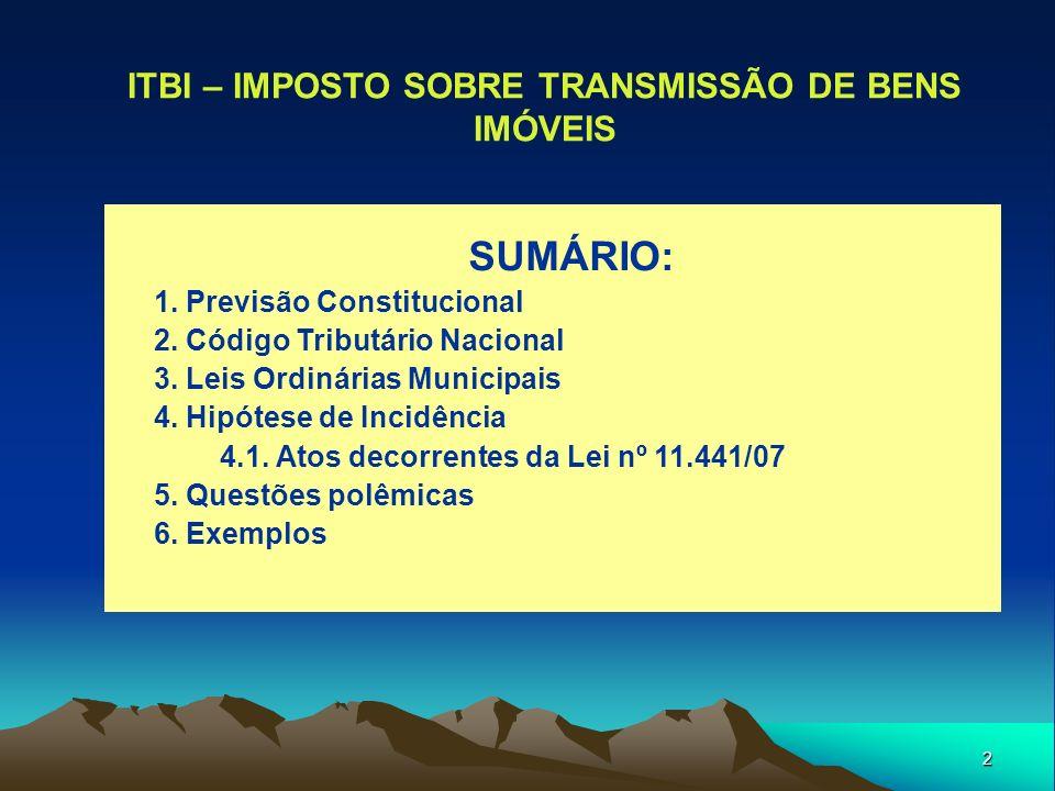 ITBI – IMPOSTO SOBRE TRANSMISSÃO DE BENS IMÓVEIS