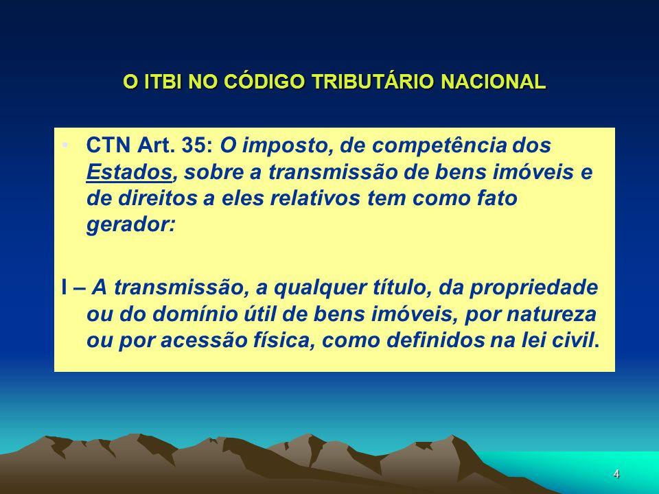 O ITBI NO CÓDIGO TRIBUTÁRIO NACIONAL