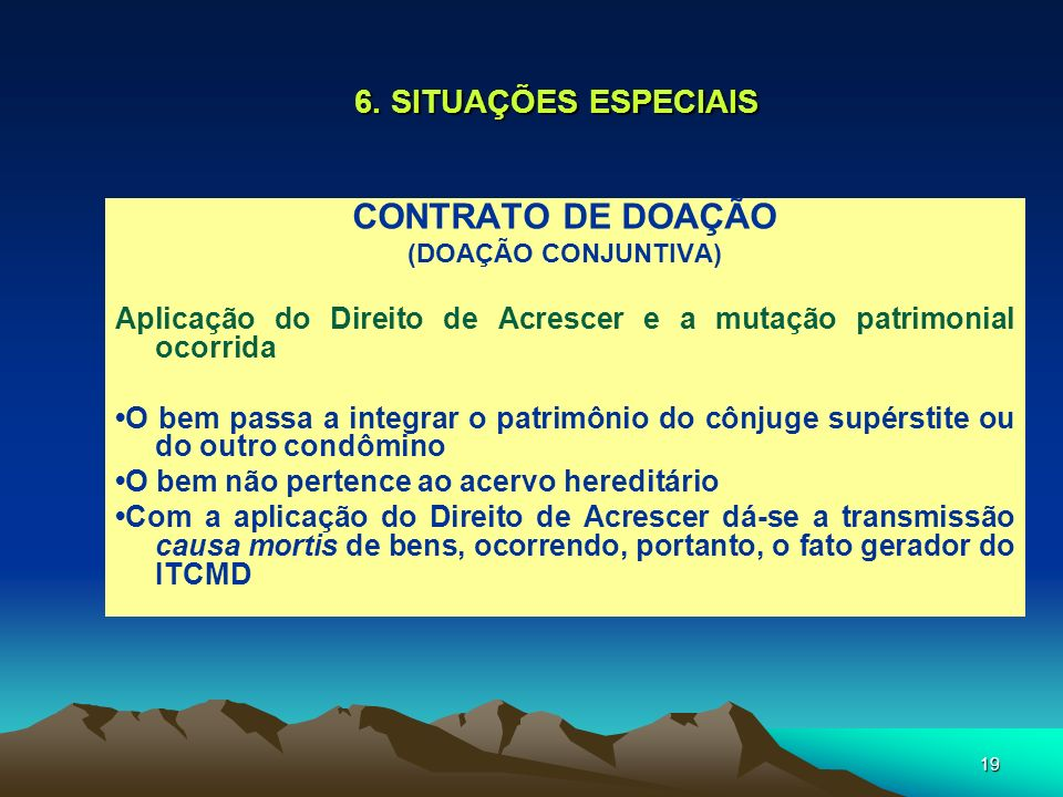 CONTRATO DE DOAÇÃO 6. SITUAÇÕES ESPECIAIS