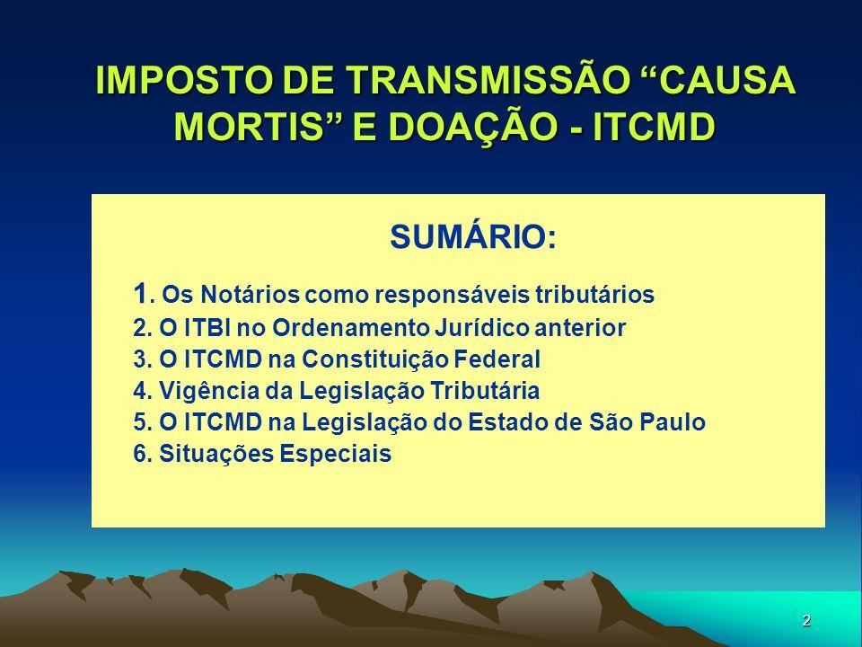 IMPOSTO DE TRANSMISSÃO CAUSA MORTIS E DOAÇÃO - ITCMD
