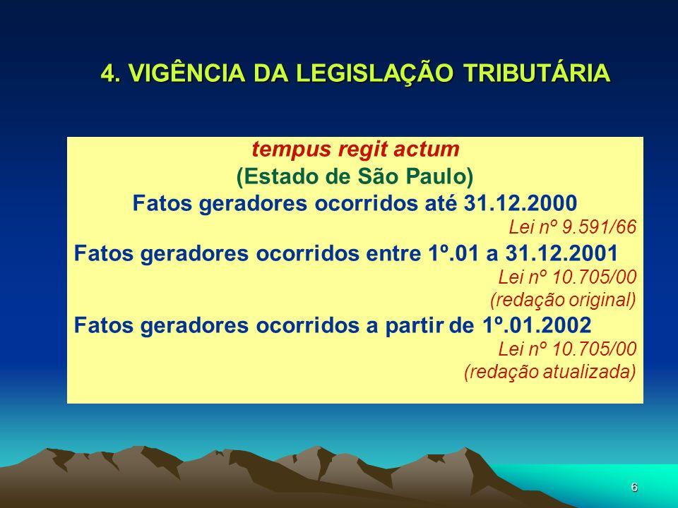 4. VIGÊNCIA DA LEGISLAÇÃO TRIBUTÁRIA