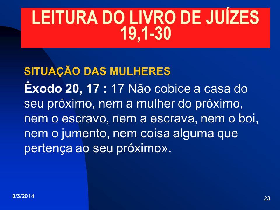 LEITURA DO LIVRO DE JUÍZES 19,1-30