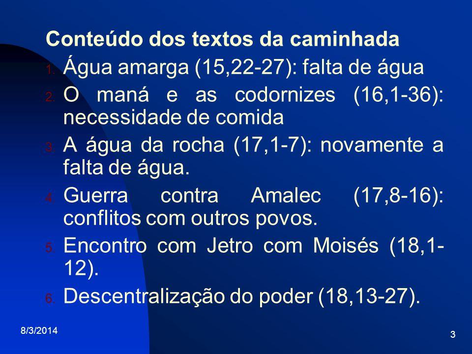Conteúdo dos textos da caminhada Água amarga (15,22-27): falta de água