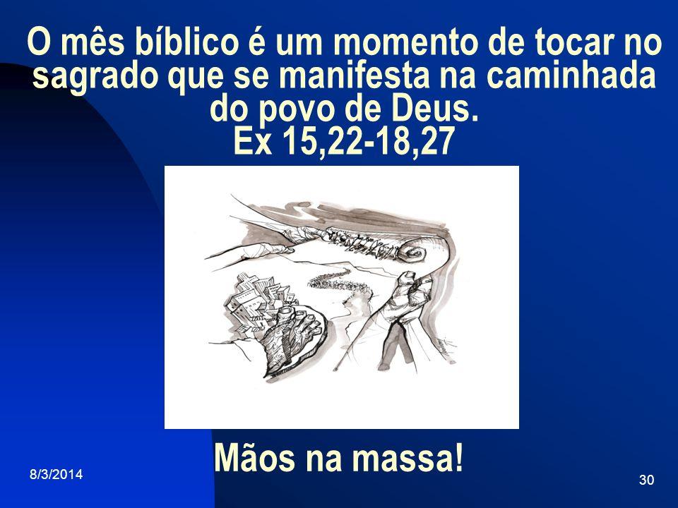 O mês bíblico é um momento de tocar no sagrado que se manifesta na caminhada do povo de Deus. Ex 15,22-18,27
