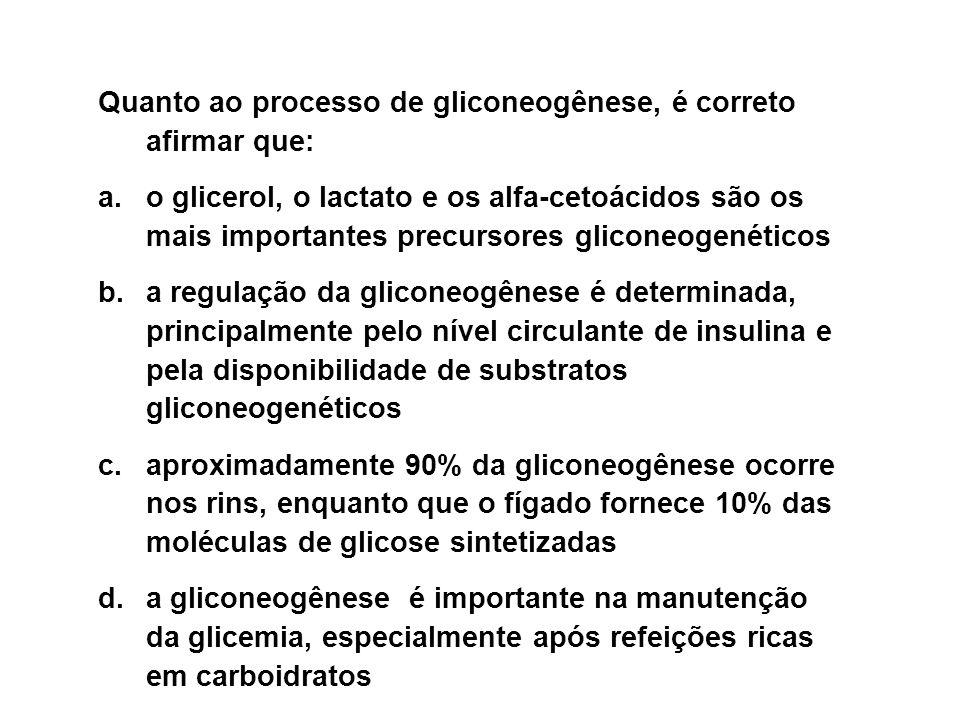 Quanto ao processo de gliconeogênese, é correto afirmar que: