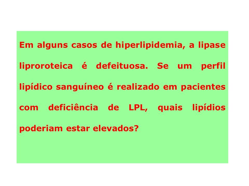 Em alguns casos de hiperlipidemia, a lipase liproroteica é defeituosa