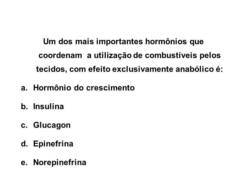 Um dos mais importantes hormônios que coordenam a utilização de combustíveis pelos tecidos, com efeito exclusivamente anabólico é: