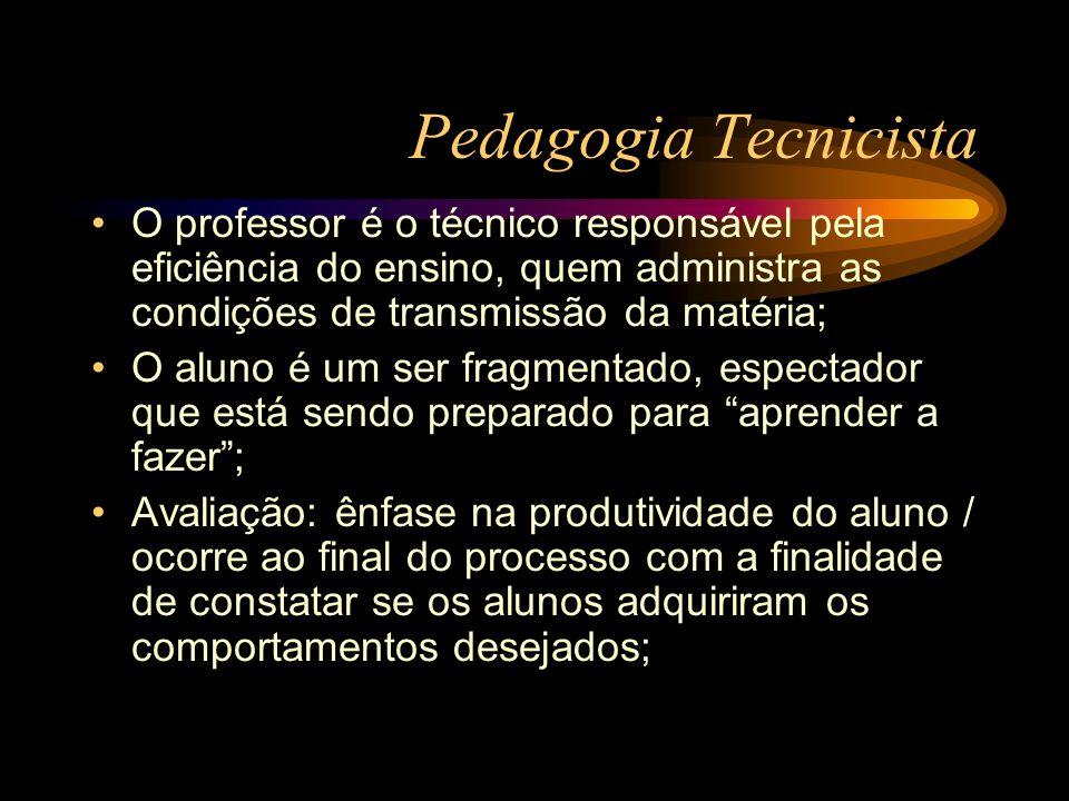 Pedagogia Tecnicista O professor é o técnico responsável pela eficiência do ensino, quem administra as condições de transmissão da matéria;
