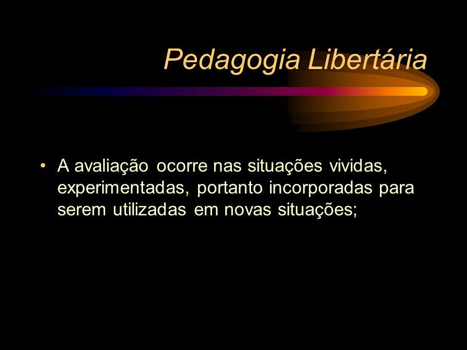 Pedagogia Libertária A avaliação ocorre nas situações vividas, experimentadas, portanto incorporadas para serem utilizadas em novas situações;
