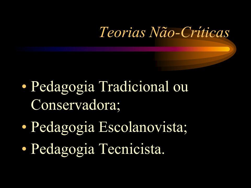 Teorias Não-Críticas Pedagogia Tradicional ou Conservadora; Pedagogia Escolanovista; Pedagogia Tecnicista.