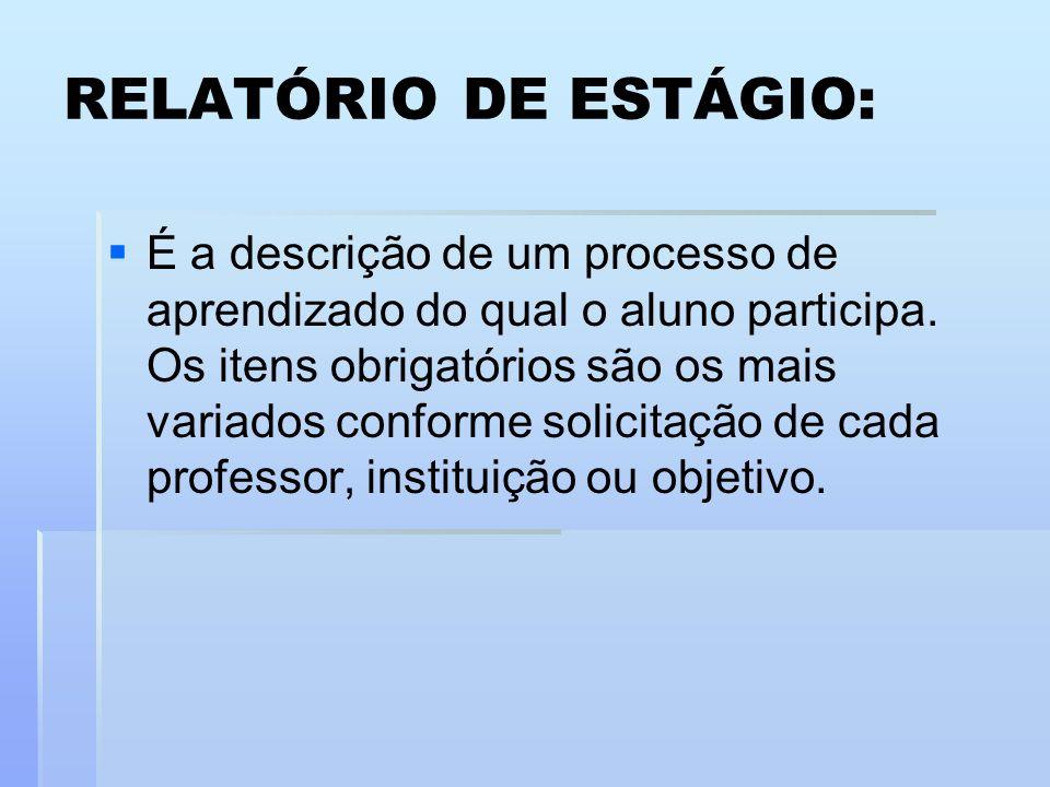 RELATÓRIO DE ESTÁGIO: