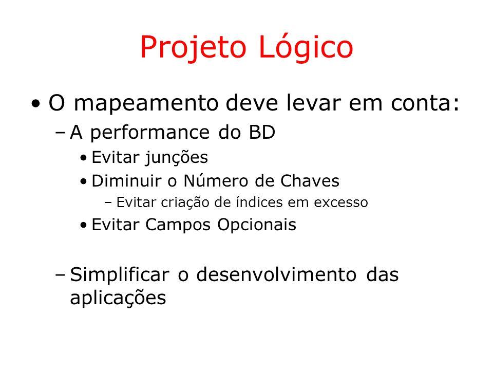Projeto Lógico O mapeamento deve levar em conta: A performance do BD