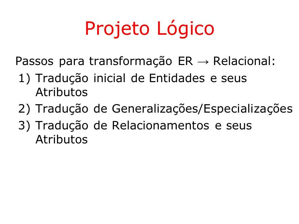 Projeto Lógico Passos para transformação ER → Relacional: