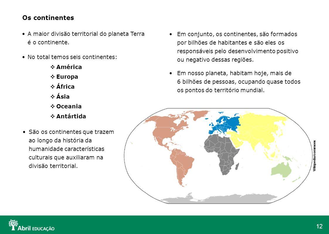 Os continentes A maior divisão territorial do planeta Terra é o continente. No total temos seis continentes:
