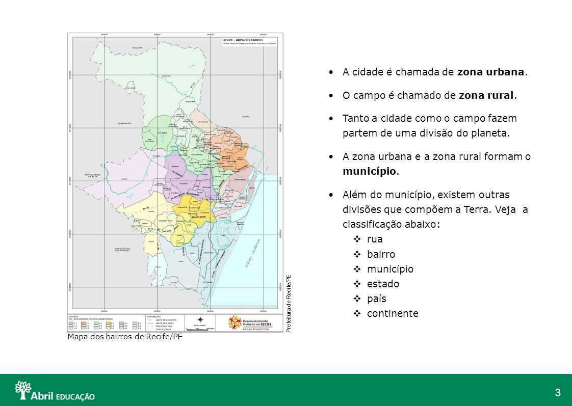 A cidade é chamada de zona urbana. O campo é chamado de zona rural.