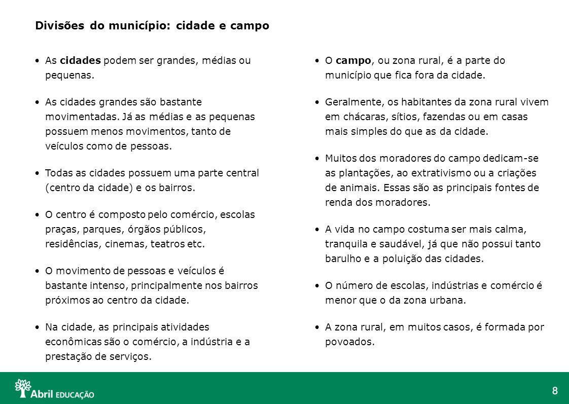 Divisões do município: cidade e campo