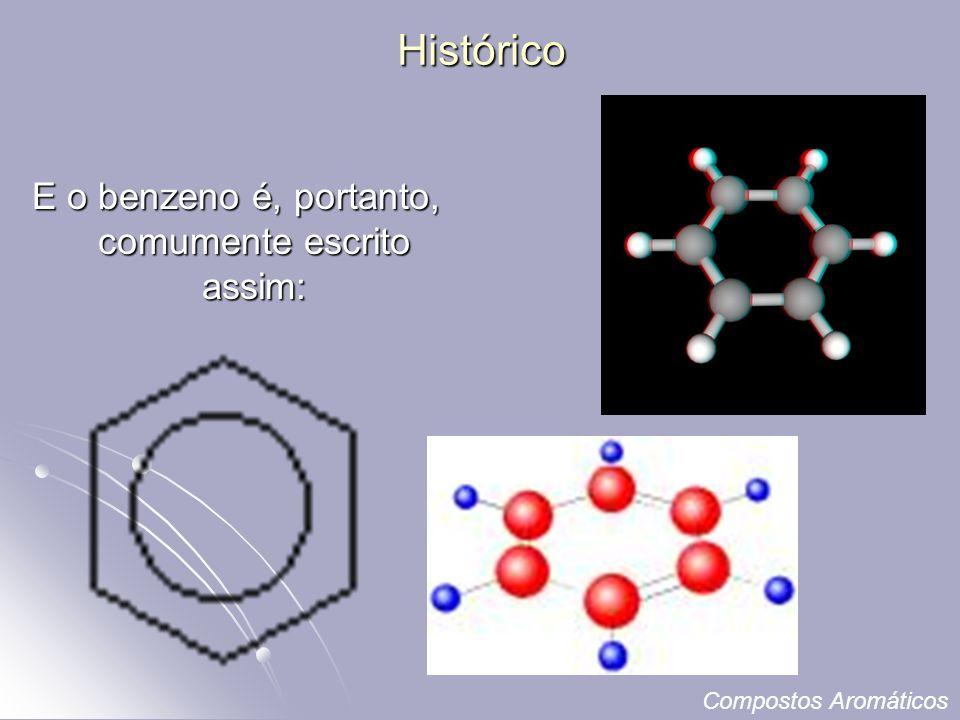 E o benzeno é, portanto, comumente escrito assim: