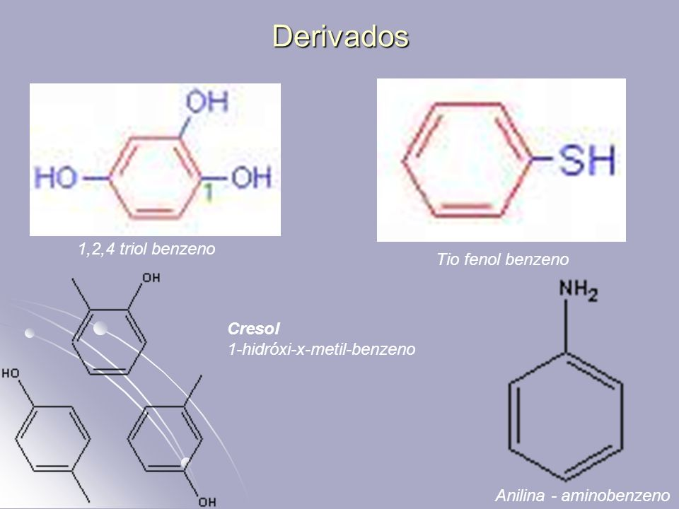 Derivados 1,2,4 triol benzeno Tio fenol benzeno