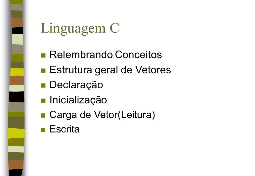 Linguagem C Relembrando Conceitos Estrutura geral de Vetores