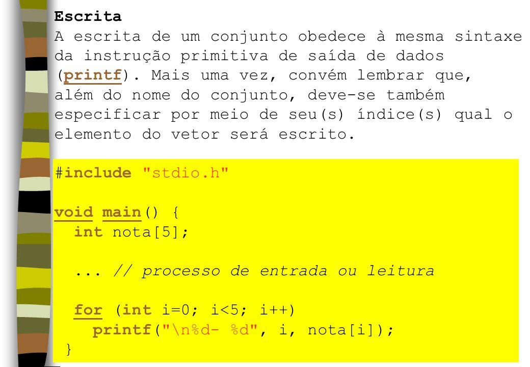 Escrita A escrita de um conjunto obedece à mesma sintaxe. da instrução primitiva de saída de dados.