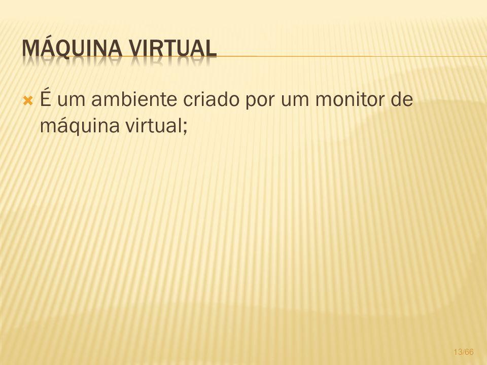 Máquina Virtual É um ambiente criado por um monitor de máquina virtual;