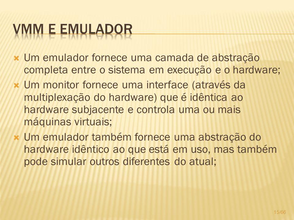 VMM e Emulador Um emulador fornece uma camada de abstração completa entre o sistema em execução e o hardware;