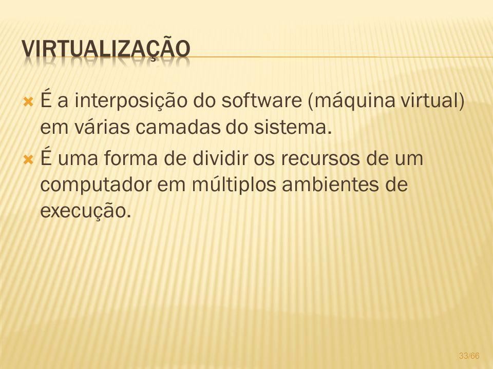 Virtualização É a interposição do software (máquina virtual) em várias camadas do sistema.