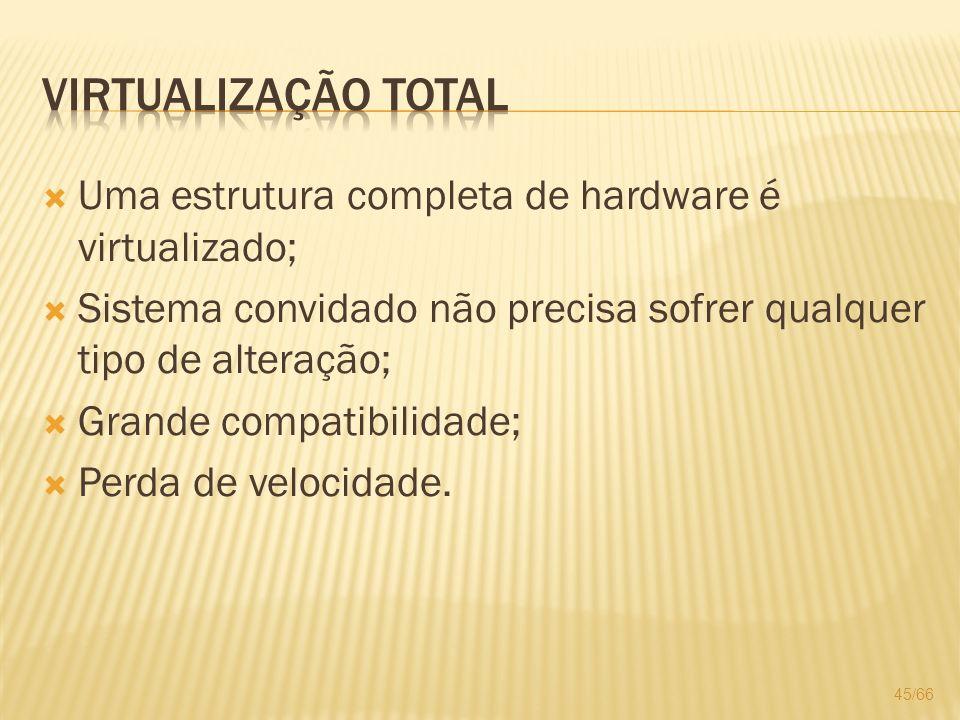 Virtualização total Uma estrutura completa de hardware é virtualizado;